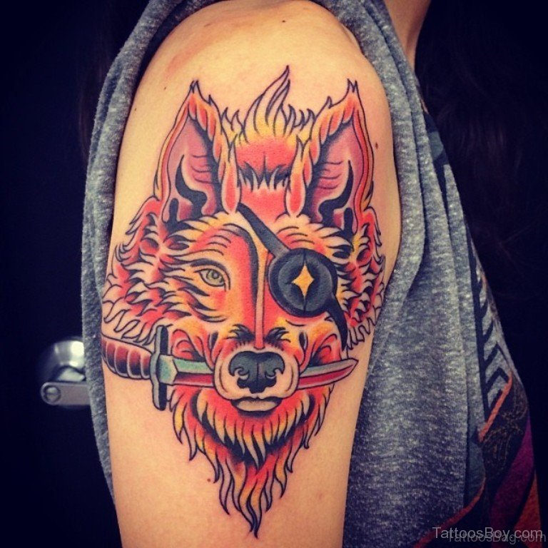45 amazing fox tattoos on shoulder. Black Bedroom Furniture Sets. Home Design Ideas
