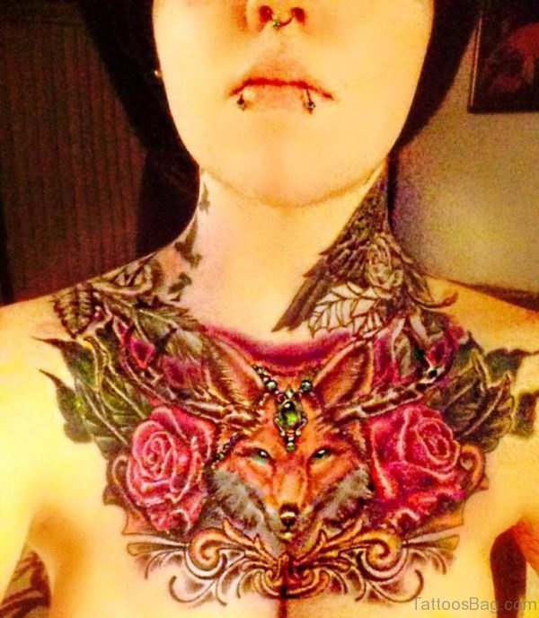 Awesome Fox Tattoo On Chest