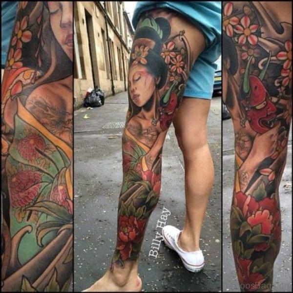 Awesome Geisha Tattoo