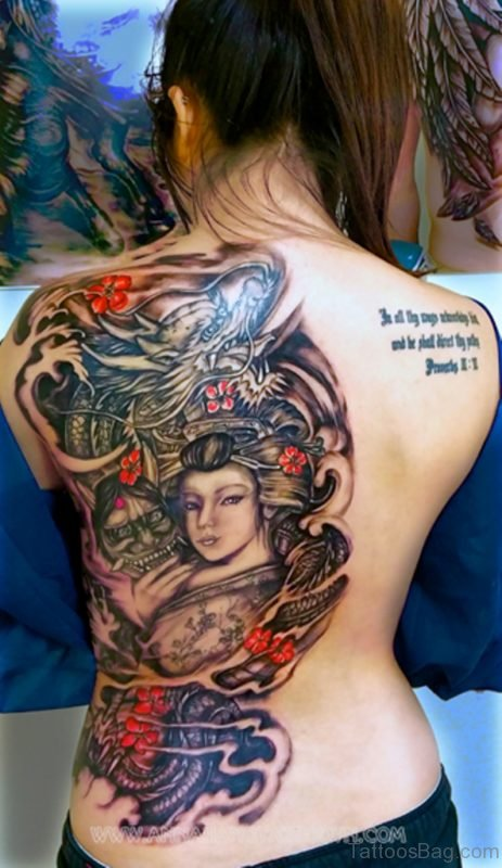 Awesome Geisha Tattoo