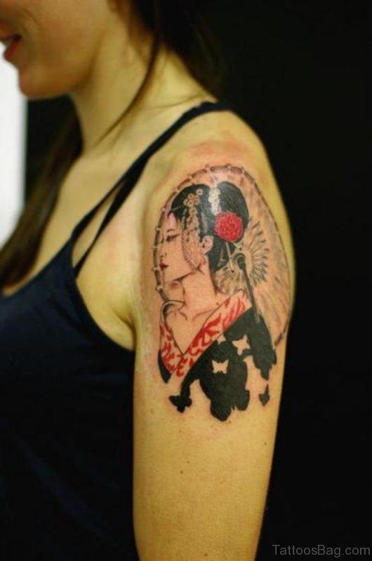 Awesome Geisha Tattoo Design