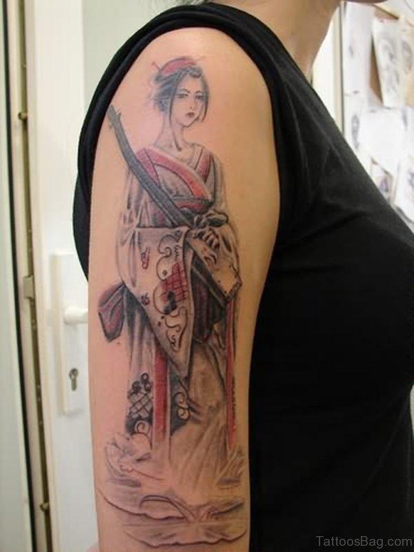 Awesome Geisha Tattoo OPn SHoulder