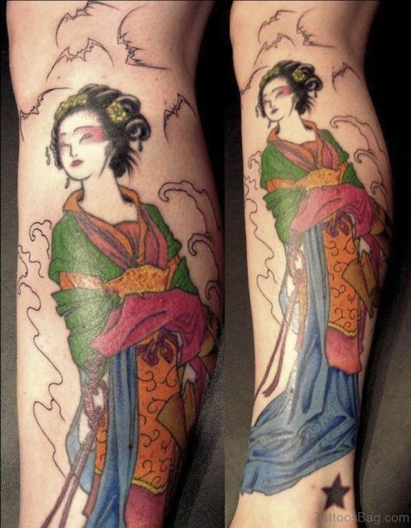 Awesome Geisha Tattoo On Leg