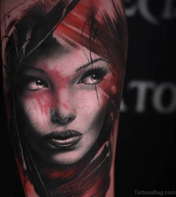 Awesome Girl Face Tattoo