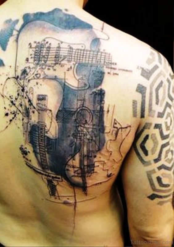 Awesome Guitar Tattoo On Back