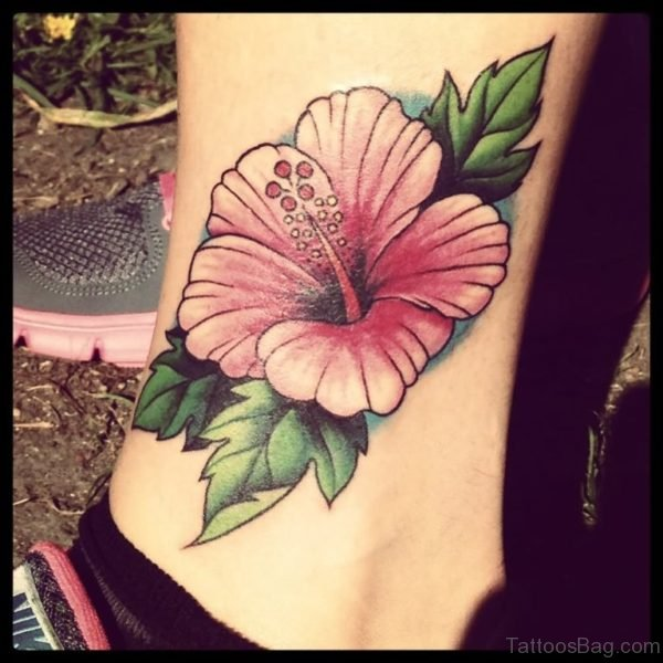 Awesome Hibiscus Tattoo On Leg