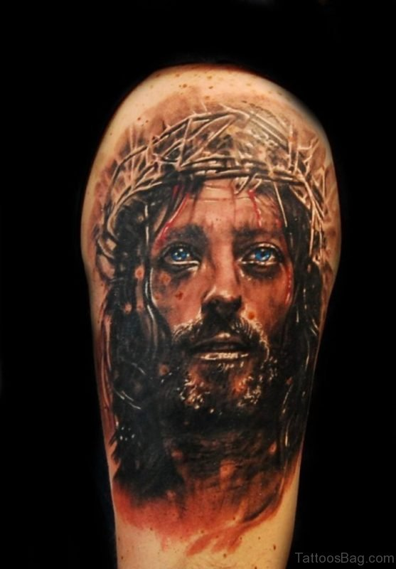 Awesome Jesus Portait Tattoo Design
