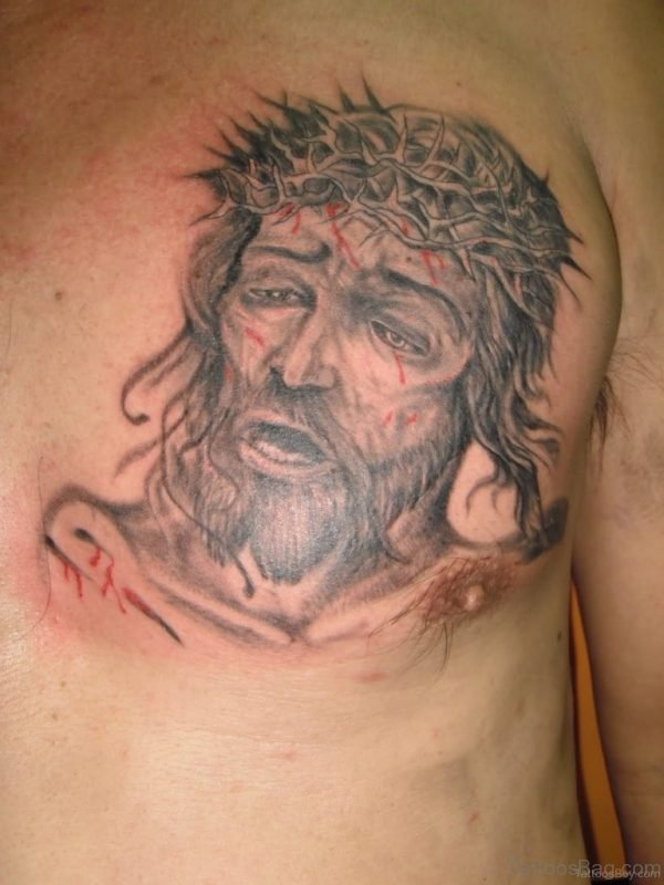 Awesome Jesus Tattoo On Chest