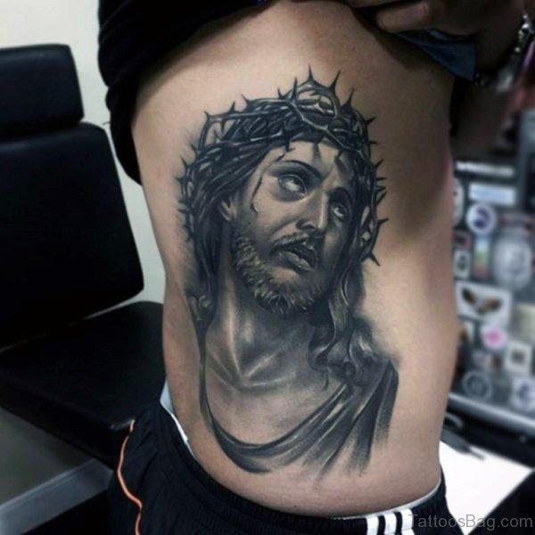 Awesome Jesus Tattoo On Rib