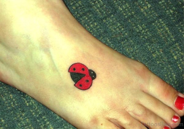 Awesome Ladybug Tattoo On Foot