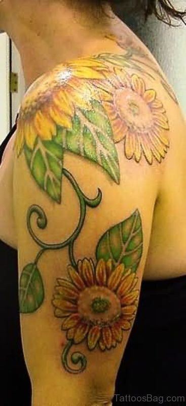 Awesome Left Shoulder Sunflower Tattoo