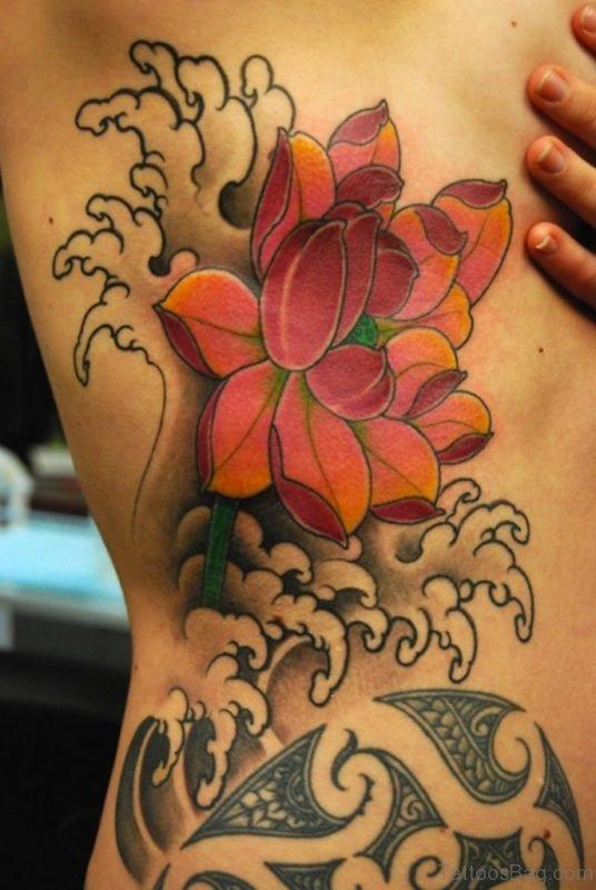 Awesome Lotus Tattoo On Rib