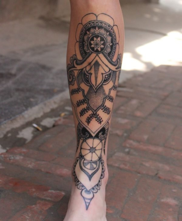 Awesome Mandala Tattoo On Leg