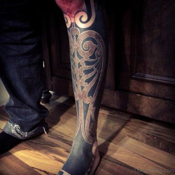 Awesome Mandala Tattoo On Leg Image