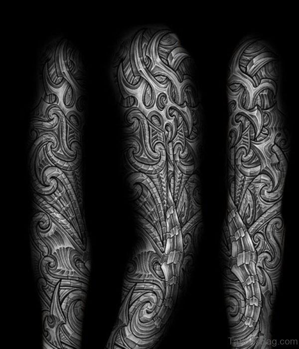 Awesome Maori Tattoo On Full Sleeve