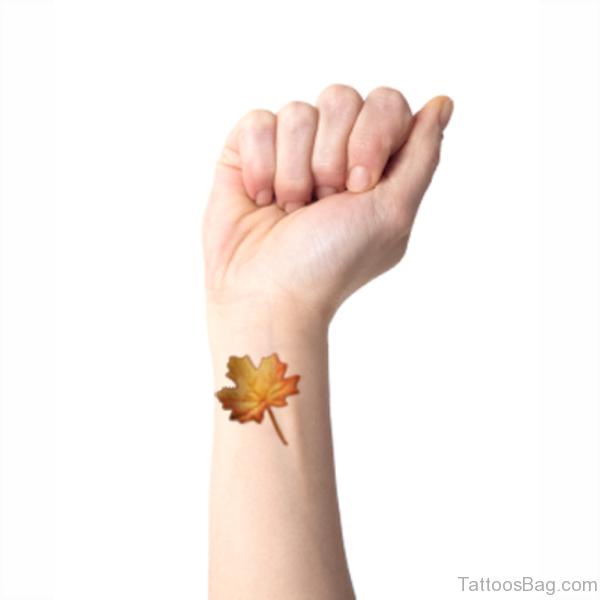 Awesome Maple Leaf Wrist Tattoo