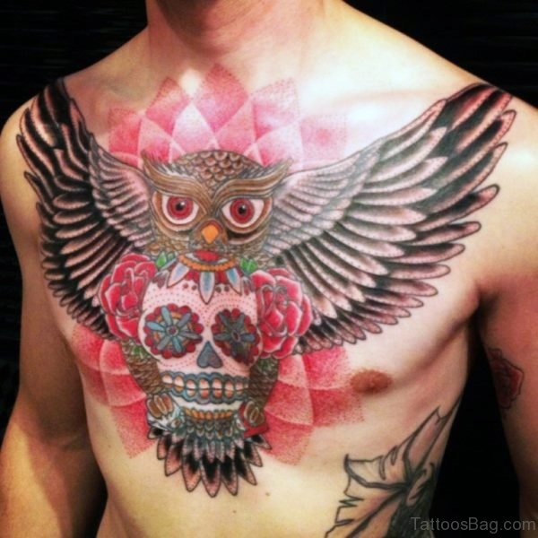 Awesome Men Owl Sugar Skull Tattoo On Chest