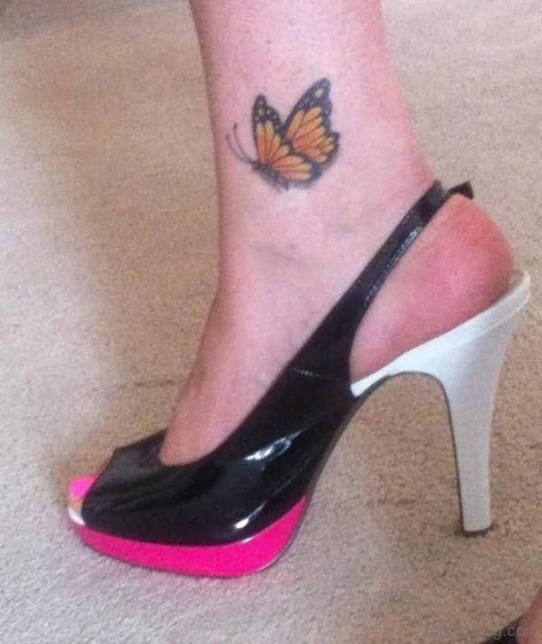 Awesome Orange Butterfly Tattoo On Ankle