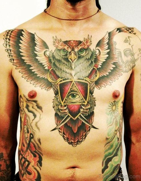 Awesome Owl Tattoo On Ches tattoo On Chest