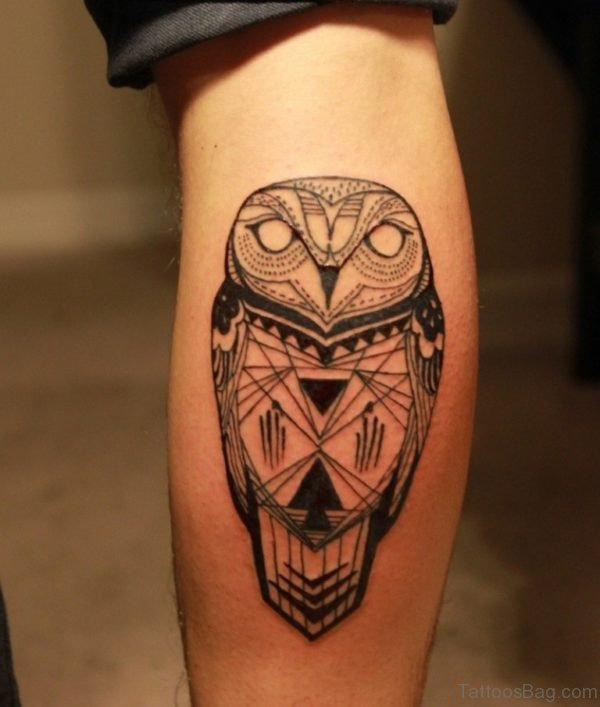 Awesome Owl Tattoo On Leg