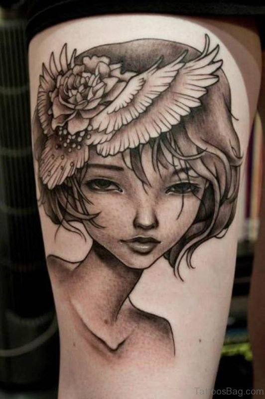 Awesome Portrait Tattoo On Thigh