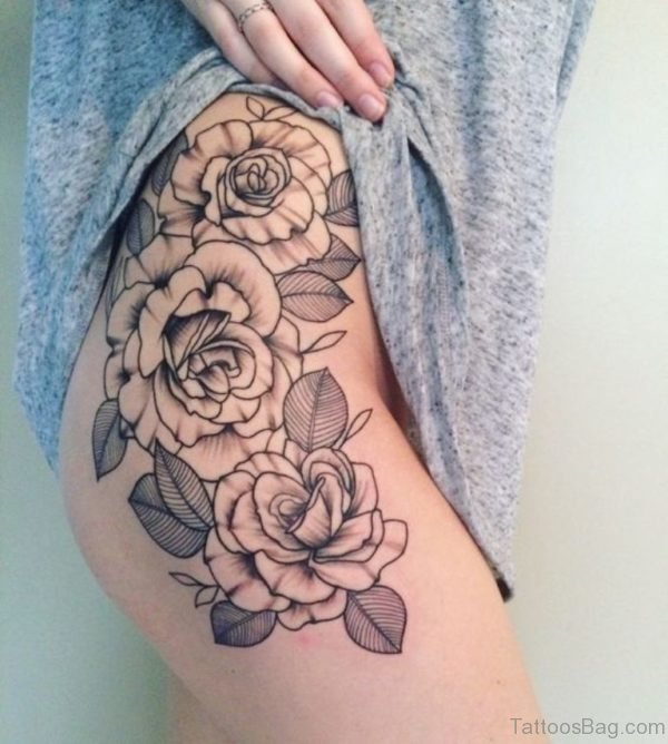 Awesome Rose Flower Tattoo On Thigh