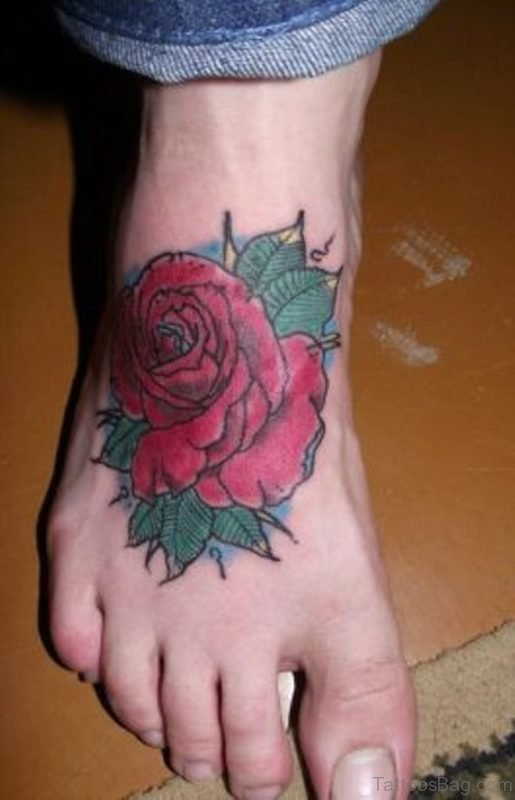 Awesome Rose Tattoo Design On Ankle