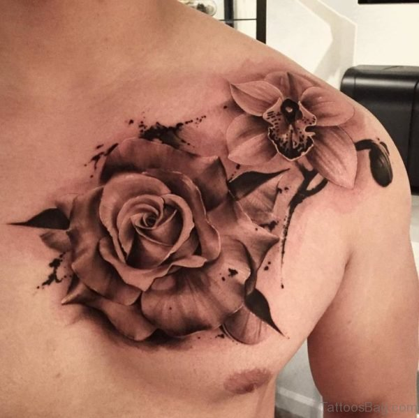Awesome Rose Tattoo Design  On Chest