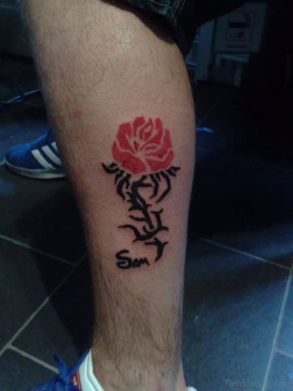 Awesome Rose Tattoo On Leg