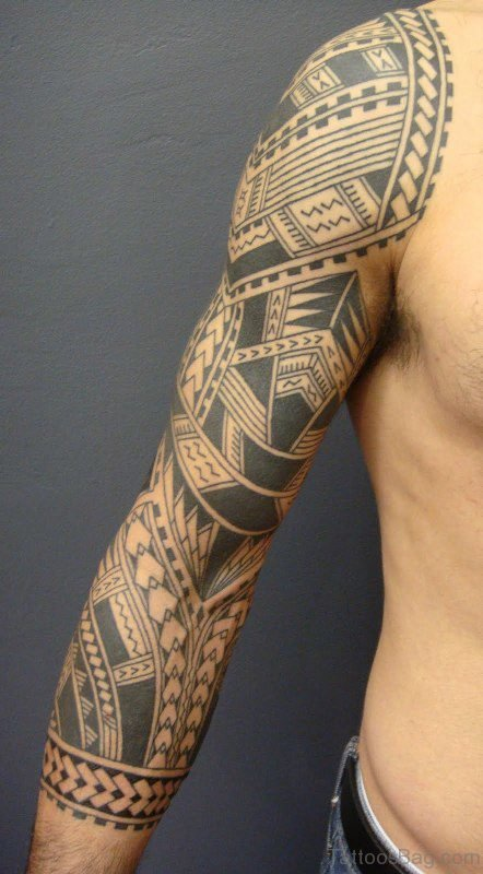 Awesome Samoan Arm Shoulder Tattoo