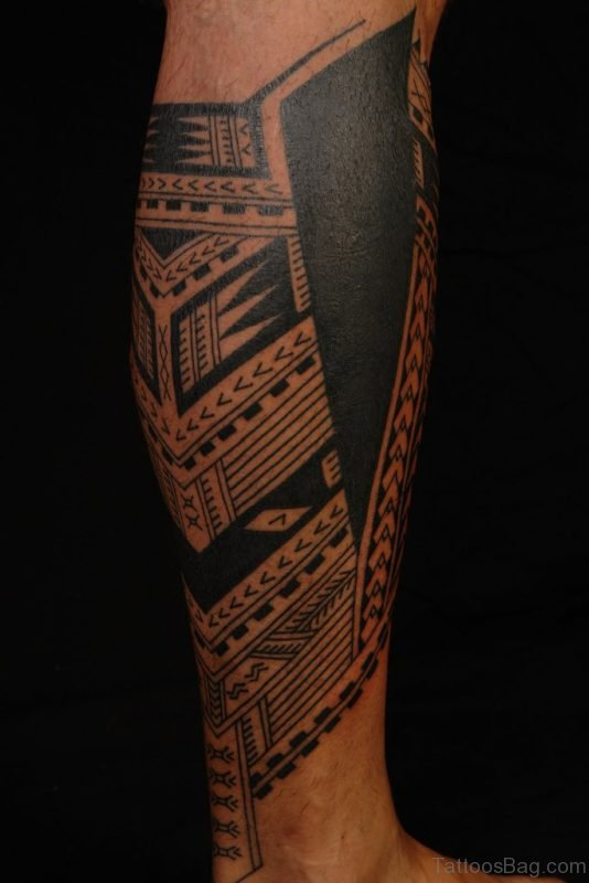 Awesome Samoan Tattoo On Leg