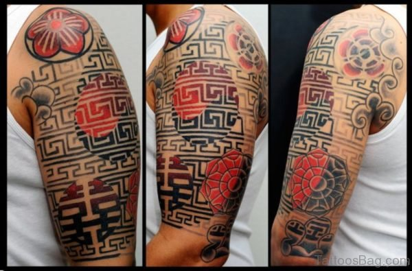 Awesome Shoulder Half Sleeves Tattoo