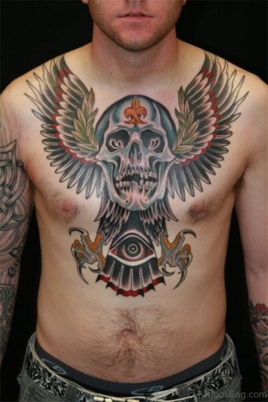 Awesome Skull Tattoo On Chest
