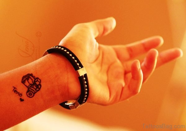 Awesome Small Camera Wrist Tattoo