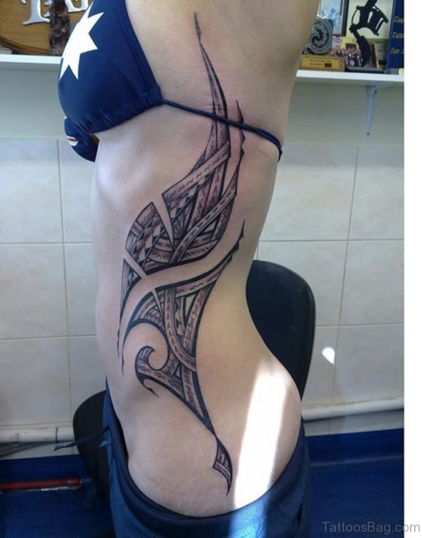 Awesome Tribal Rib Cage Tattoo For Woman