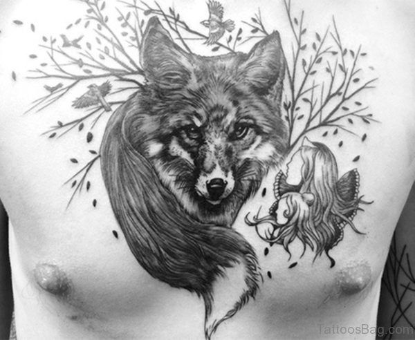 Awesome Wolf Head and Tail Tattoo On Chest
