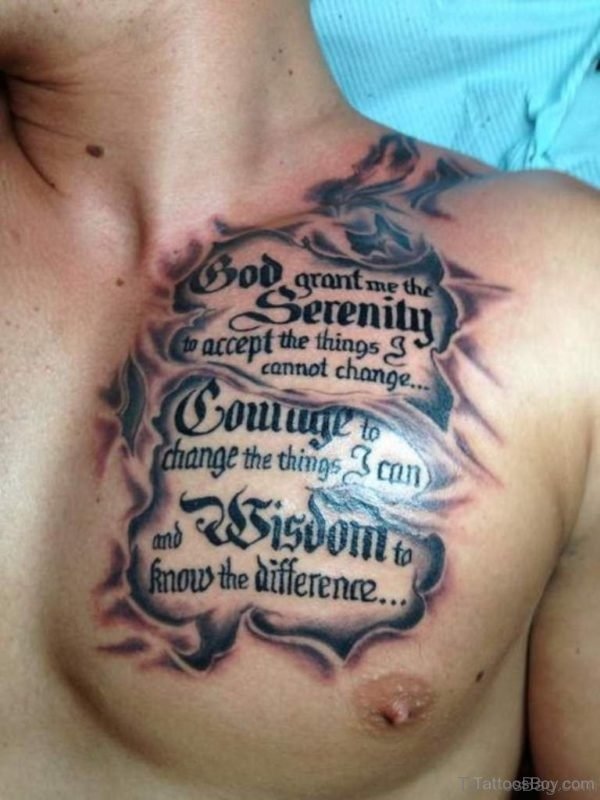 Awesome Wording Tattoo On Chest