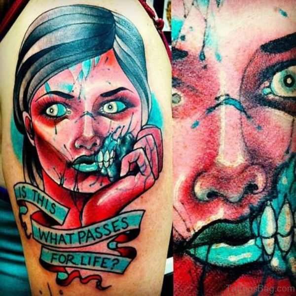Awesome Zombie Tattoo On Shoulder