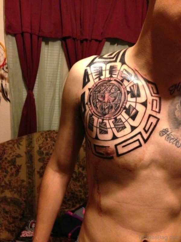 Aztec Calendar Tattoo On Chest