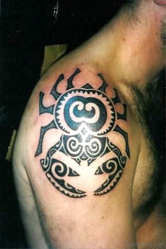 Aztec Crab Shoulder Tattoo