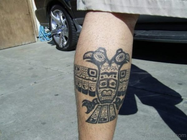 Aztec Eagle Tattoos On Leg