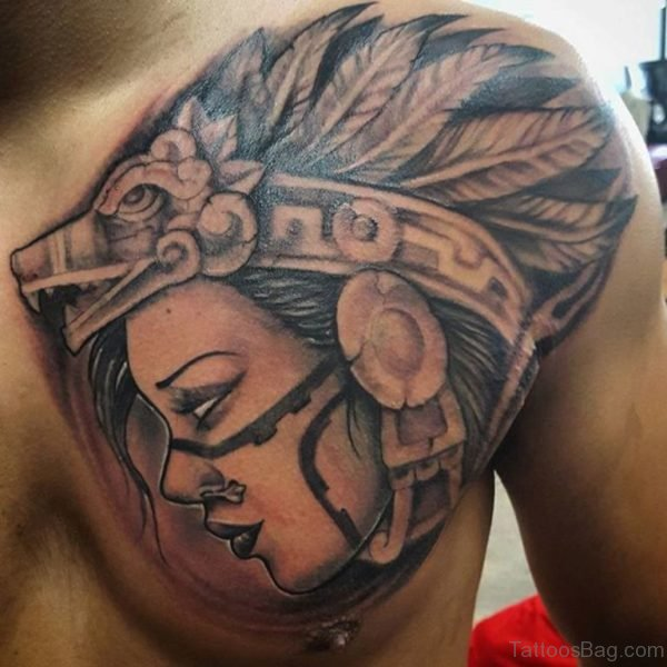 Aztec Girl Tattoo On Chest