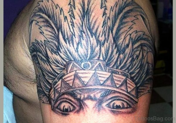 Aztec Half Sleeve Shoulder Tattoo