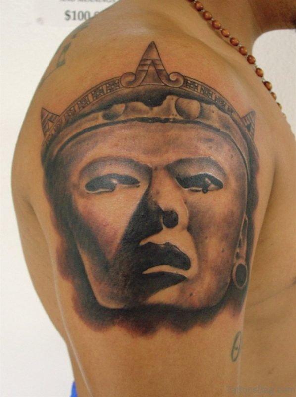 Aztec Mask Tattoo On Shoulder