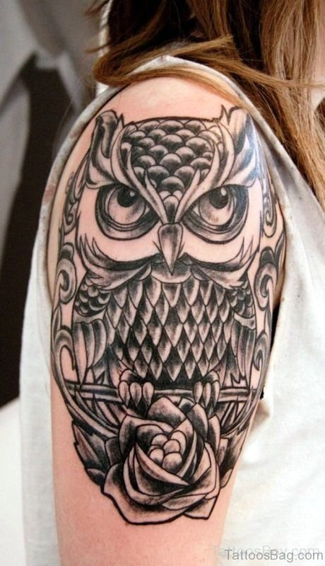 Aztec Owl Shoulder Tattoo