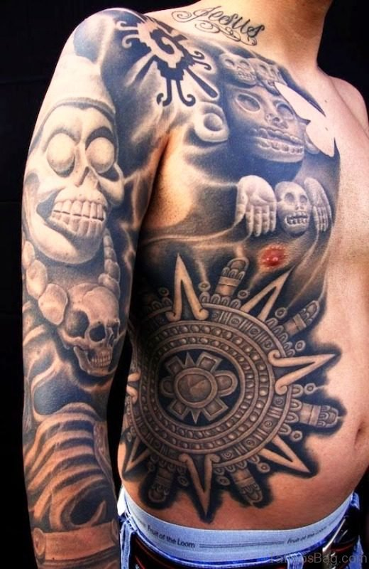 Aztec Skull Designer Tattoo