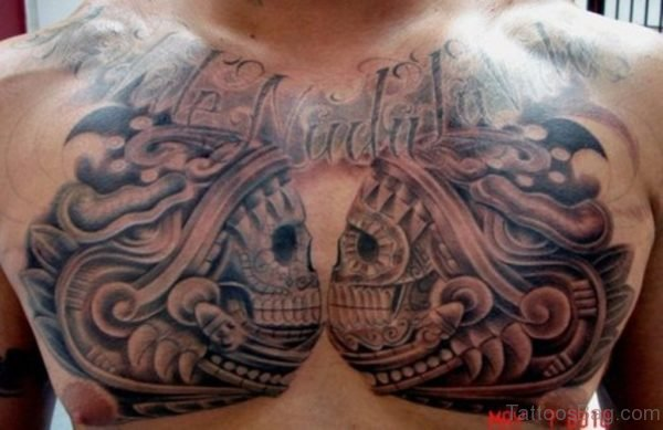 Aztec Skulls Tattoo On Chest For Men