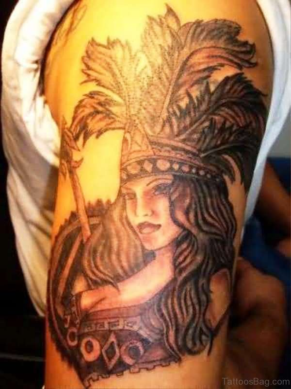 Aztec Tattoo On Left Shoulder