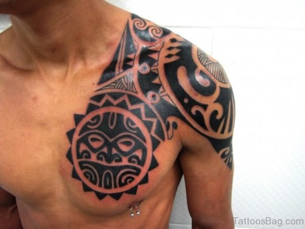Aztec Tribal Chest Tattoo