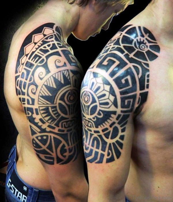 Aztec Tribal Shoulder Tattoo